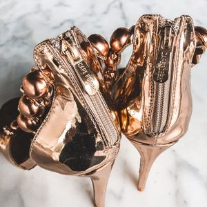 Shoes - NEW Rose Gold Ankle Strap Heels